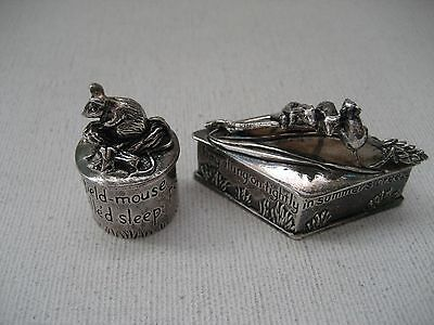 2 Charming English Silver Scenes Mouse Trinket Pill Ring Boxes-Silver Plated