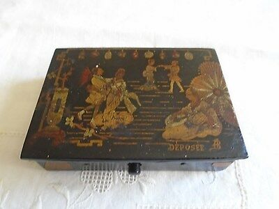 Vintage Small French Hand Painted Wooden Candy Or Jewerly Box