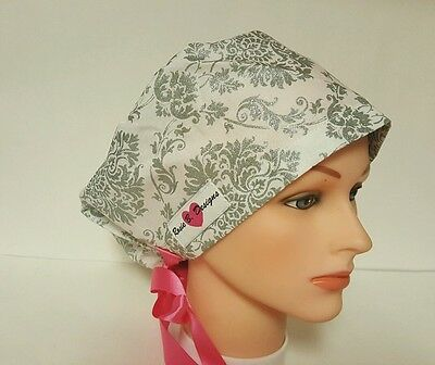 Silver /gray  Damask/pixie Hat / Scrub  / Medical /cap /surgical/chemo