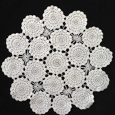 "WHITE HAND CROCHETED LARGE DOILEY / DOILY / DOILIE TABLE CENTRE 15.5"" 40cm"