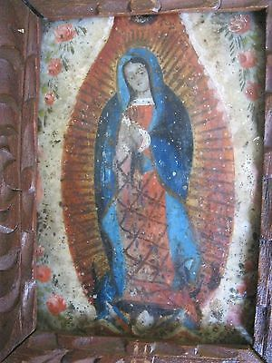 Original 1800's Retablo On Tin Our Lady De Guadalupe With Old Wood Frame