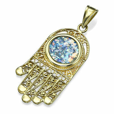 14k Yellow Gold Roman Glass Hamsa Jewish Necklace Pendant Realistic Fingers 32mm