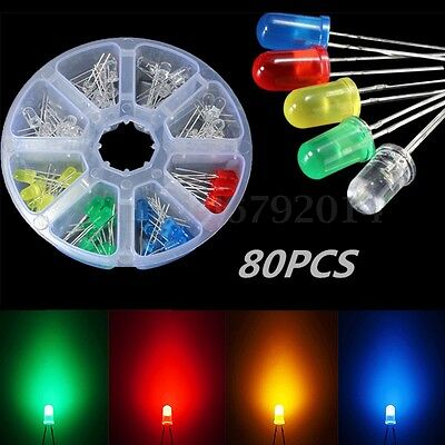 80 Pcs 5mm LED Diodes Emitting Light Assortment Color/Clear Shell Kit Component