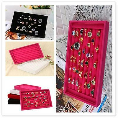 New Ring Earring Display Storage Box Case Organizer 23 x 14.5cm Velvet  W>W>^{