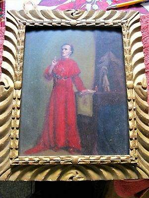 Original Antique Oil Painting On Board Of A Bishop Framed Great Condition
