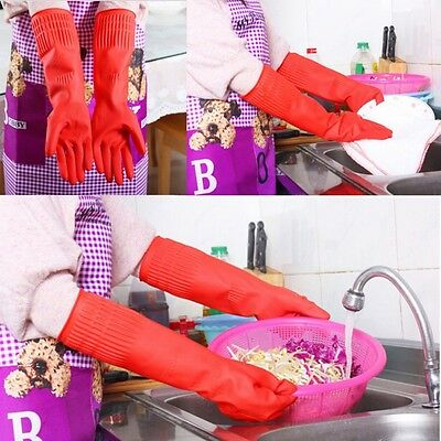Rubber Latex Cleaning Long Gloves Kitchen Housework Dish Washing Protect Hand