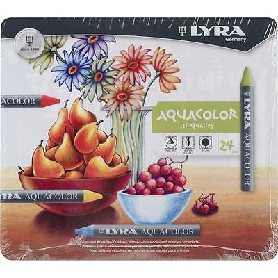 Lyra Aquacolor Hi-Quality 24 Pcs Water Soluble Wax Crayons, Mixed Media, Art