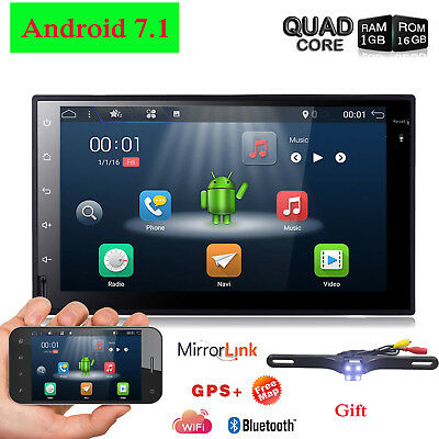 """Quad Core Android 7.1 4G WIFI 7""""Double 2DIN Car Radio Stereo No DVD Player GPS"""