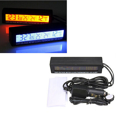 Car Temperature Thermometer outside and inside Auto 12V Alarm LCD Digital Clock