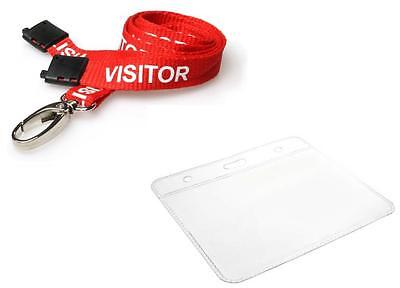PRINTED VISITOR LANYARD RED Metal Clip Neck Strap With Visitor Pass Badge Holder