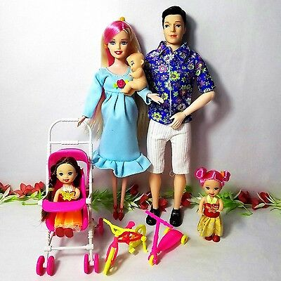 New 8 pcs Pregnant Barbie Doll Happy Family Lot Clothes Baby Belly Dress Shoes