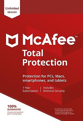 McAfee Total Protection 2018 Unlimited (1PC, 3PC, 5PC, 10PC) 1Year Antivirus