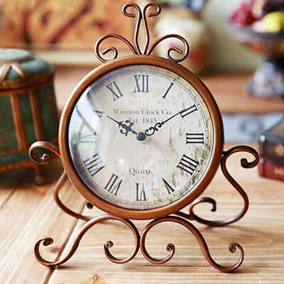 Retro Vintage Style Metal Clock Home Decoration Table Clock Ornament