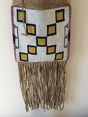 Antique Plains Indian Sioux Blackfeet Beaded Pipe Bag Native American