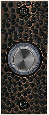 Waterwood Solid Brass Small Hammered Plate Doorbell in Oil Rubbed Bronze