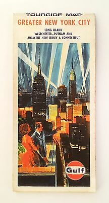 Greater NEW YORK CITY Road Map - 'Gulf' - 1970