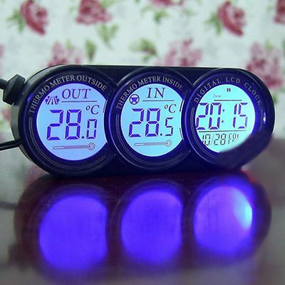 Car Digital Clock Inside & Outside Temperature Meter Auto Thermometer Gauge UK