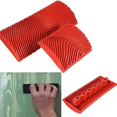 2Pcs Wood Graining Rubber Painting Effects Tool Texture Pattern DIY Home Decor