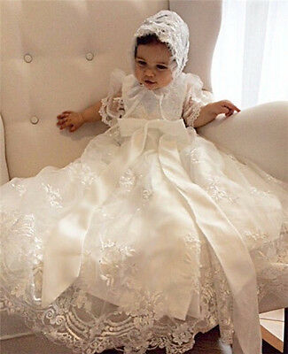 High Quality New Christening Dress Lace Beaded Baby Girl Boy Baptism Gown BONNET