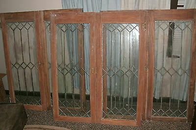 9 MATCHING Antique Leaded Glass Bookcase Cabinet Doors 6 DOUBLE DOORS 3 SINGLE
