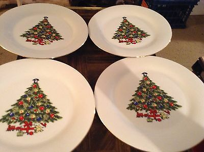"Sea gull fine china Christmas tree 10 1/2"" dinner plates"