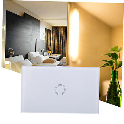 Smart White Crystal Glass Panel 1 Gang US Light Touch Sense Screen Switch TO