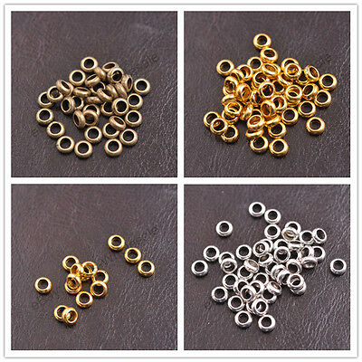 Tibetan Silver/Gold/Bronze Rings Spacer Beads Jewelry Findings 6x2MM D3142