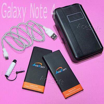 5in1 2x 5470mAh Battery Desktop Charger Cable For Samsung Galaxy Note 4 IV N910T