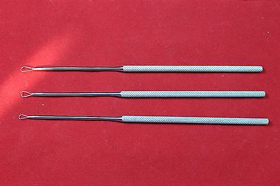 "Billeau Ear Loop, Set of 3 Pcs (Small, Medium & Large) 6.5"" ENT Instruments"