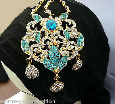 Indian Jhoomar Passa Costume Jewellery Turquoise Clear Gold Plated New Aq/jh5