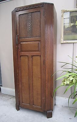 Antique Art Deco Oak Hall Robe Wardrobe