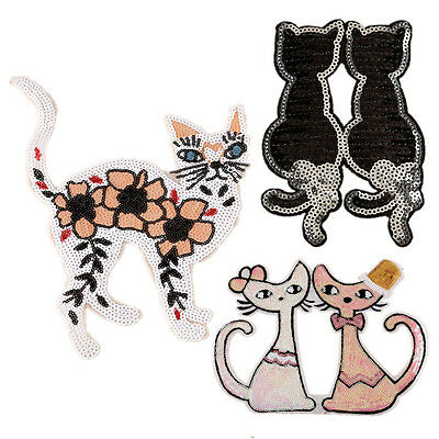 Embroidered Sequins Beads Couple Cat Patches Appliques Iron On Patch for Dress