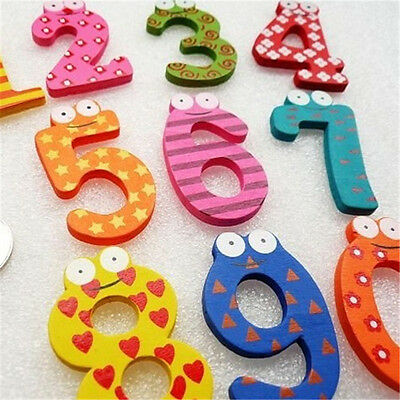 Cute Wooden 10 Number /26 Alphabets Fridge Magnets Letter For Kids Education Toy