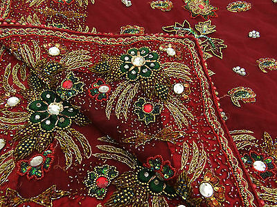 Indian Vintage Dupatta Long Stole Net Hand Beaded Maroon Wedding Veil Used Stole