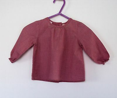 baby girls red check Zara top, age 3-6 months.