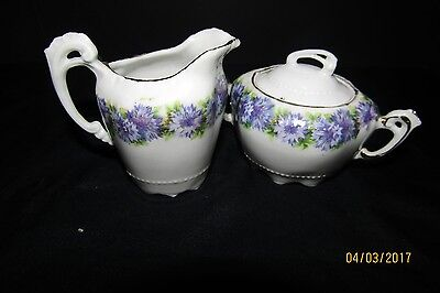 Mini Sugar and Creamer made in Germany Blue Asters