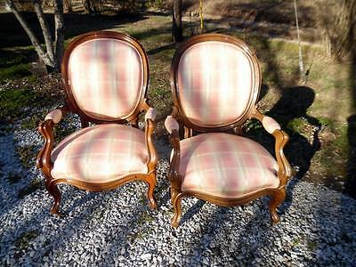 Pair Antique Carved Walnut Upholstered Victorian Parlor Arm Chairs Brass Casters