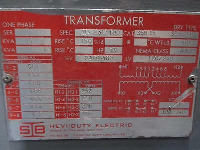 Hevi-Duty S5H15 15Kva 1Ph 240/480 X 120/240 Current Transformer