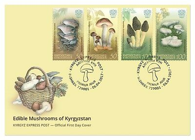 First Day Cover. Edible Mushrooms of Kyrgyzstan. Kyrgyz Express Post 2017