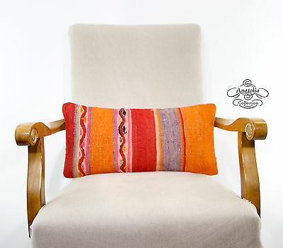Colorful Anatolian Pillow Cover Vintage Interior Decor Accent Lumbar Kilim Throw