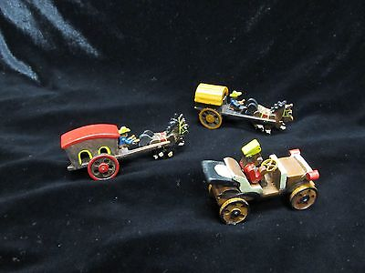 Vintage Lot Of 3 Miniature Wood Transportation Toys Japan