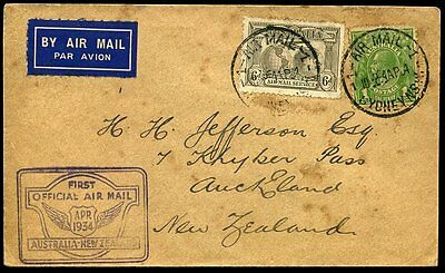 First Official Air Mail 1934 Australia to New Zealand 'Faith in Australia'