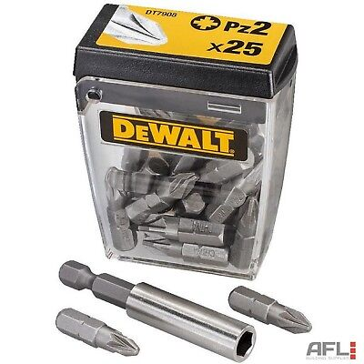 25 Pack Dewalt DT7908QZ Screwdriver Bits Pozidrive PZ2x25mm & Bit Holder