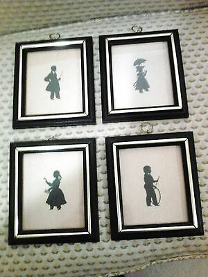 4 Vintage silhouette black and  creme cameo prints 6 1/2 x7 1/2