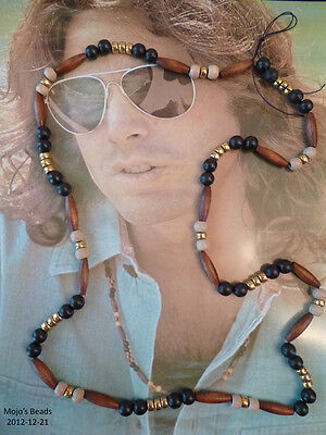 "Jim Morrison / the Doors ""Wood & Brass"" 30"" Love Bead Necklace Authentic Replica"