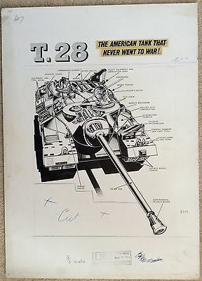 Original Artwork of T28 Tank by L Ashwell Wood ( Likely ) for Lion 1962
