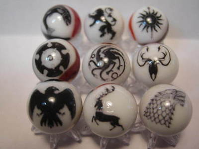 GAME OF THRONES GLASS MARBLES COLLECTION LOT 5/8 SIZE + stands