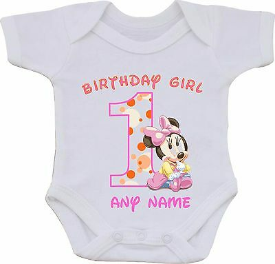 PERSONALISED 1st BIRTHDAY GIRL MINNIE THE MOUSE SUBLIMATION BABY VEST OR BIB