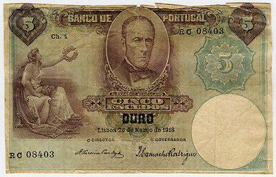 Portugal 1918 Issue 5 Escudos Banknote Very Scarce.pick#114.