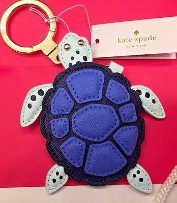 NEW!!  Kate Spade New York Leather Turtle Bag Charm Keychain Key Fob Ring Chain